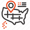american, location, map