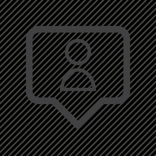 label, location, pin, user icon