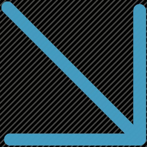arrow, cursor, down, mouse, mouse arrow, pointer icon