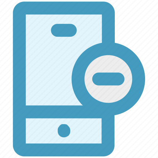 cell phone, iphone, minus, mobile, remove, smart phone icon