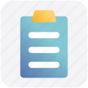 file, sheet, pencil, clipboard, page, paper