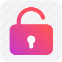 login, open, secure, security, unlock, unlocked icon