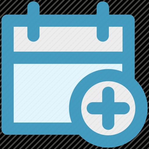 add, agenda, appointment, calendar, day, plus sign icon