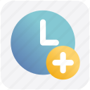 add, alarm, circle, clock, hours, plus icon