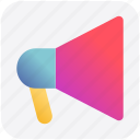 advertise, loudspeaker, megaphone, promote, round, volume icon