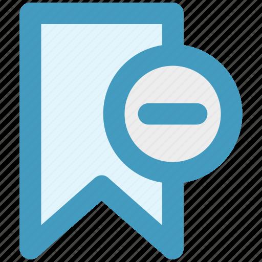 aids, book, bookmark, minus sign, remove, ribbon icon
