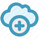 add, cloud, data, plus, plus sign, storage icon