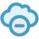 cloud, data, minus, minus sign, remove, storage icon