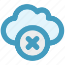 cloud, data, delete, reject, storage icon