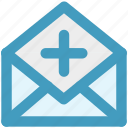 add, email, envelope, letter, message, open envelope, plus