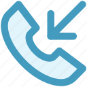 arrow, call, incoming call, phone, received, receiver icon