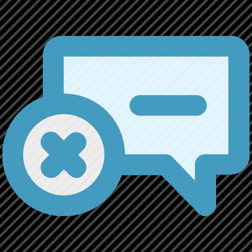 chat, comment, delete, message, reject, text icon