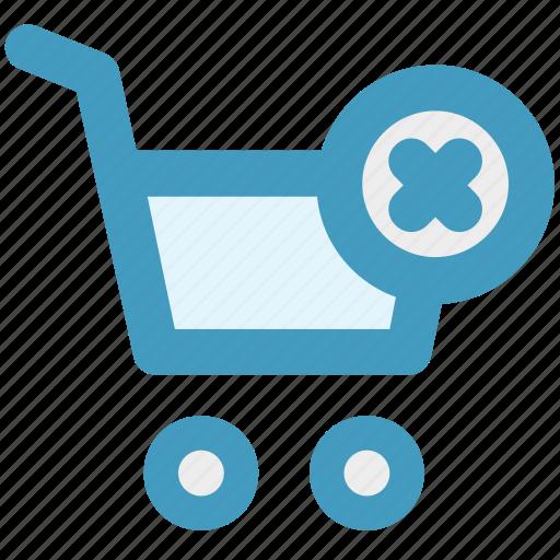 cart, cross, delete, ecommerce, shopping, shopping cart icon