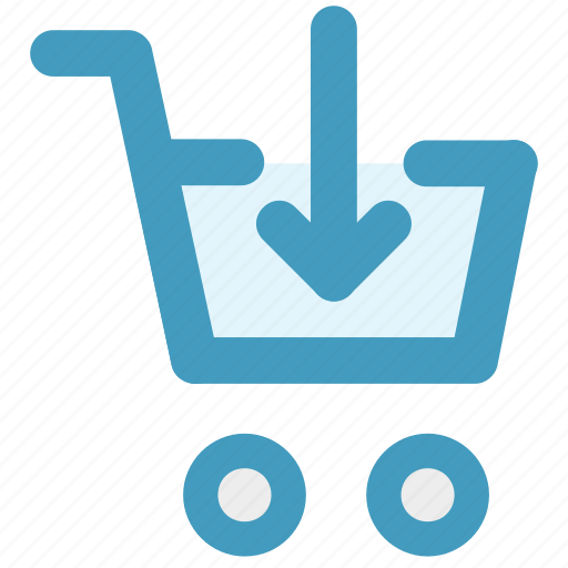 cart, down, down arrow, ecommerce, shopping, shopping cart icon
