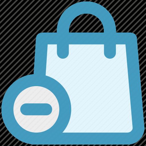 bag, delete, fashion, hand bag, minus, shopping bag icon