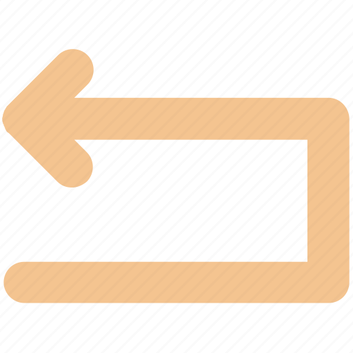 arrow, box, left, line, material, rotate icon