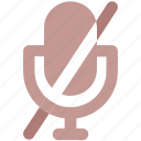 audio, cross, mic, microphone, record, song icon