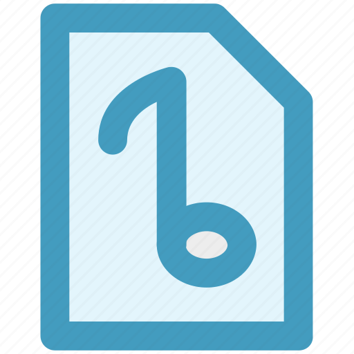 audio page, file, music, music note, paper icon