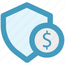 dollar, money, secure, security, shield, sign icon