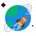 earth, orbit, rocket icon