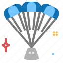 landing, parashoot, rocket icon