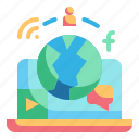 communication, labtop, media, network, world icon