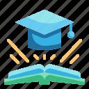 book, congratulation, education, graduate, university icon
