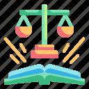 education, fairness, judge, justice, law icon