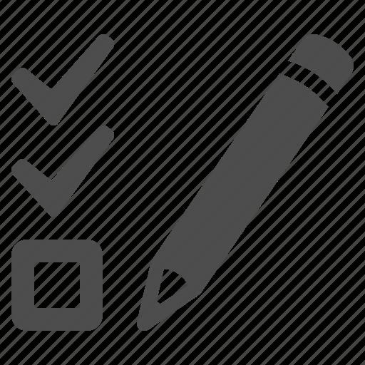 check list, checklist, education, exam, pencil, test icon