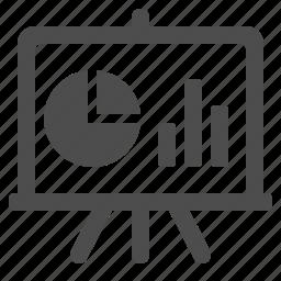 blackboard, chalkboard, graph, pie chart, projection screen icon