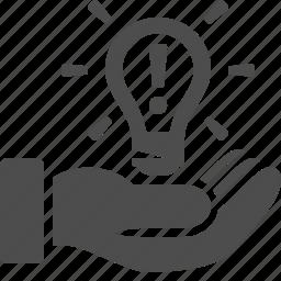 creativity, hand, idea, invention, light bulb, lightbulb, patent icon