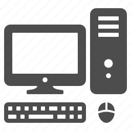 computer, computer screen, desktop, keyboard, monitor, mouse, pc icon