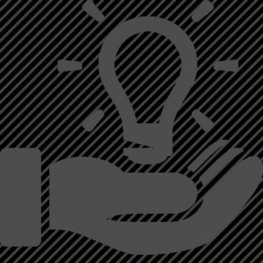 hand, idea, insurance, invention, light bulb, lightbulb, patent icon