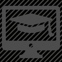 classes, computer, education, graduation cap, graduation hat, monitor, online icon