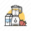blender, kitchen, milk, mix, mixing, shake, strawberry icon