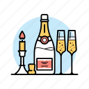 alcohol, beverage, bottle, candle, champagne, drink, glass icon