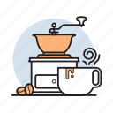 bean, coffee, cup, drink, grinder, hot, kitchen icon