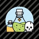 bottle, elixir, magic, poison, potion, skull, wizard icon
