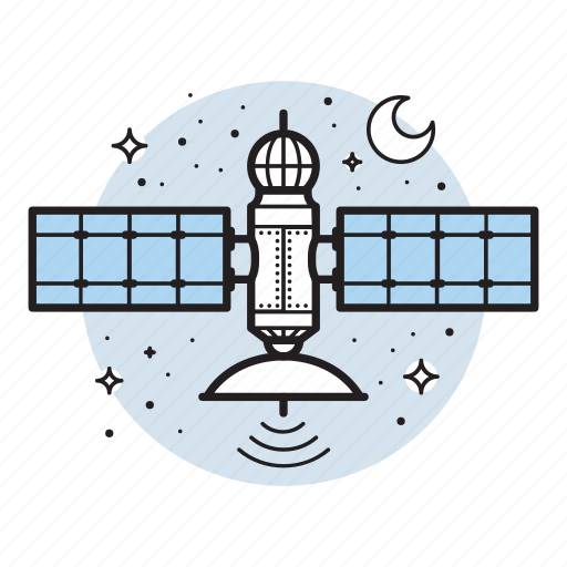broadcasting, communication, moon, satellite, signal, space, technology icon