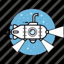bathyscaphe, nautical, ocean, periscope, research, submarine, underwater icon