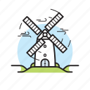 agriculture, building, energy, power, tower, traditional, windmill icon