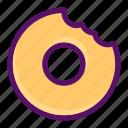 bite, dessert, donut, eat, food