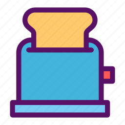 bread, breakfast, butter, timer, toaster icon