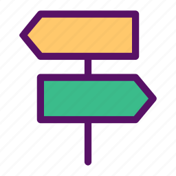 direction, finding, post, sign, way icon