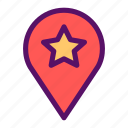 favorite, map, pin, restaurant, spot icon