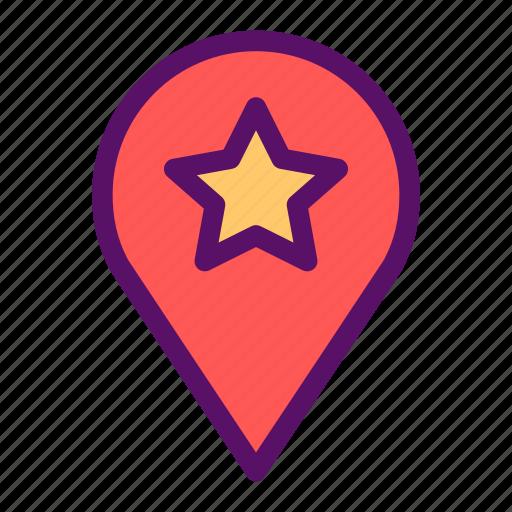 favorite, map, pin, restaurant, spot icon