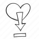 arrow, down, download, heart icon