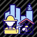 urban beekeeping, urban beekeeping icon, apiculture, beekeeper icon