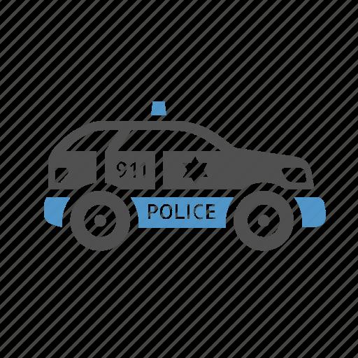 car, cop, patrol, police, urban transport icon