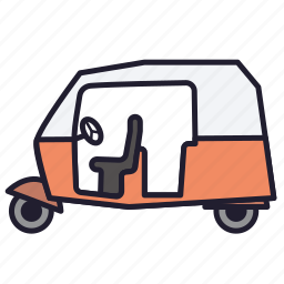 india, ricksha, rickshaw, transport, travel, urban transport, vehicle icon